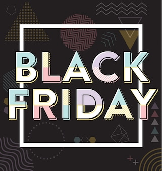 Black friday venda estilo memphis design tipográfico