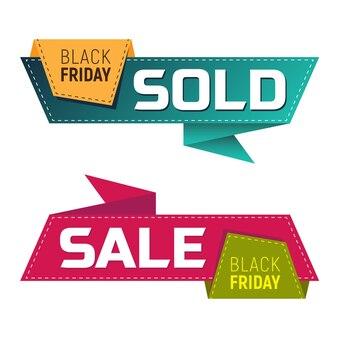 Black friday vendeu e banners ou etiquetas de venda para promoção de marketing. ilustração vetorial isolada no fundo branco. perfeito para usar no design de publicidade de seu site ou em publicações impressas.