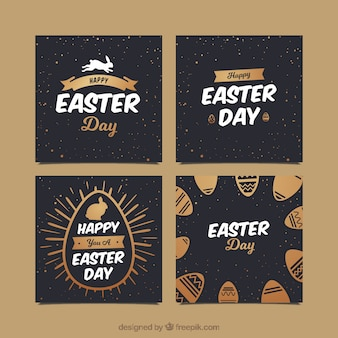 Black & gold easter day card collection
