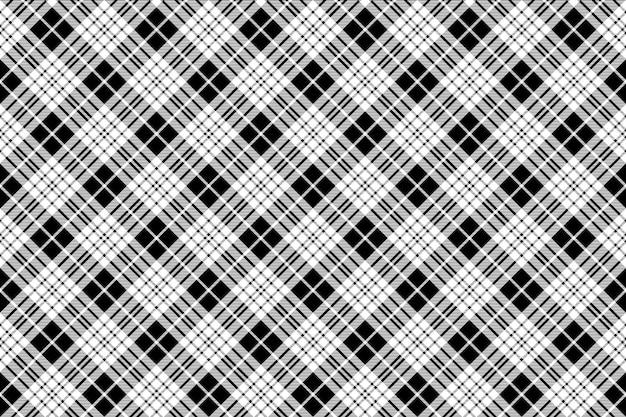 Blackberry clan tartan diagonal preto branco textura de tecido sem costura