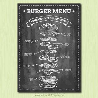 Blackboard com ingredientes saborosos para hambúrgueres