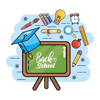 Blackboard com tampa de formatura e lápis de cores