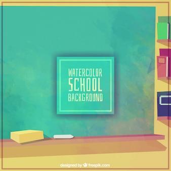 Blackboard pintado com aguarelas para voltar para a escola