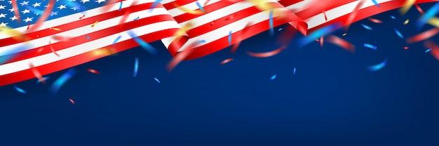 Blackguard para 4 de julho com bandeira americana e confetes. celebração do dia da independência dos eua com bandeira americana.