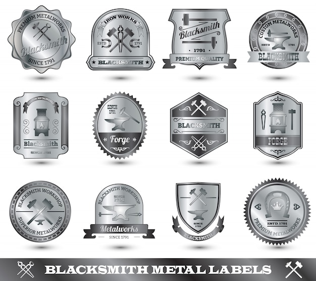 Blacksmith metal label