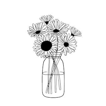 Blackwhite flores em um vaso de jarro girassóis em um vaso contorno de flores