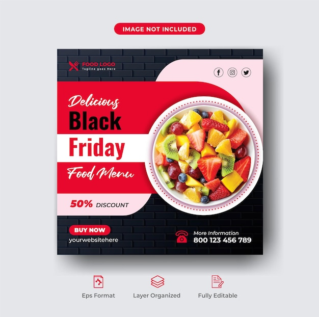 Blcak sexta-feira super venda menu de comida e modelo de banner de post de instagram de restaurante premium vector