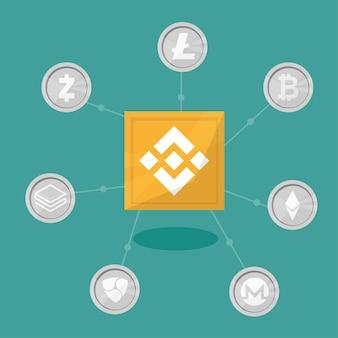 Blockchain binance - tecnologia de troca de criptomoedas. ilustração vetorial no estilo de design plano. conceito de negócios