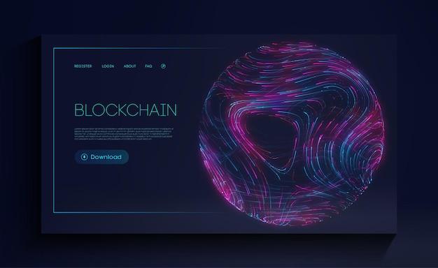 Blockchain criptomoeda página de destino da web conceito de tecnologia de moeda digital
