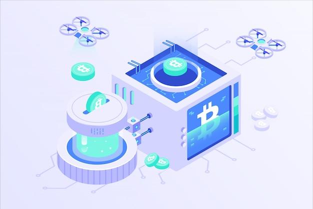 Blockchain cryptocurrency bitcoin mining server online isometric vector illustartion design
