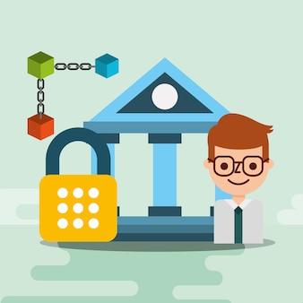 Blockchain da segurança do cyber do banco do homem de negócios