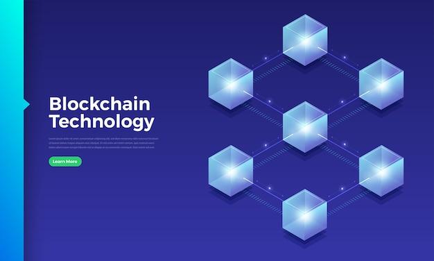 Blockchain de conceito de design plano e tecnologia de criptomoeda