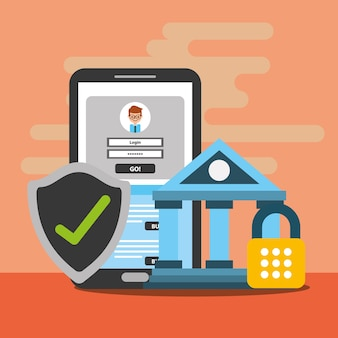 Blockchain digital da carteira da segurança do banco do smartphone