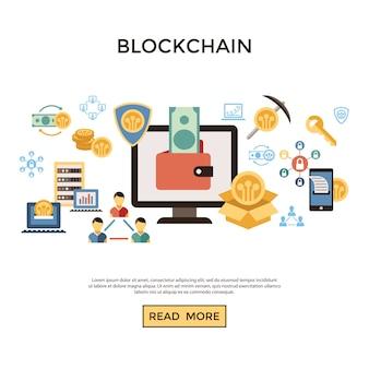 Blockchain e crypto conjunto de ícones de mineração
