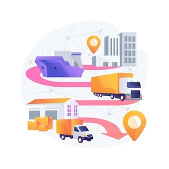 Blockchain em ilustração de conceito abstrato de tecnologia de transporte