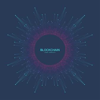 Blockchain logotipo sinal ícone conceito fractal criptomoeda dados banner design gráfico abstrato geometr ...
