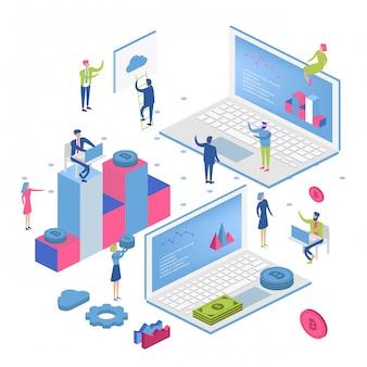 Blockchain moderno design plano isométrico conceito. criptomoeda e conceito de pessoas.
