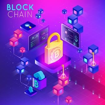 Blockchain. moeda criptografada. conceito blockchain. cadeia de estrutura de arame 3d