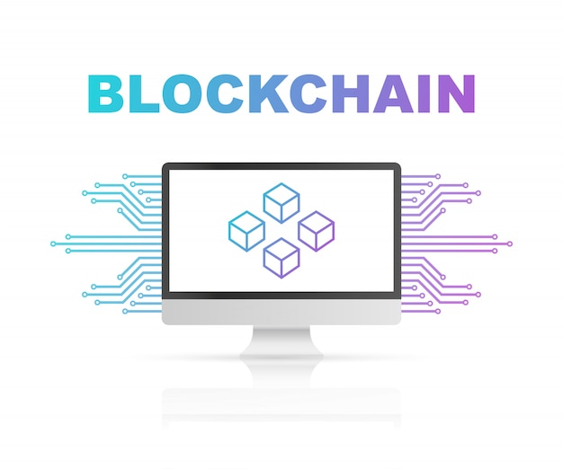 Blockchain na tela do computador, cubos conectados no visor. símbolo do banco de dados, data center, criptomoeda e blockchain