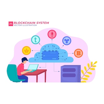 Blockchain sistema ilustração plana money link safe fine tech