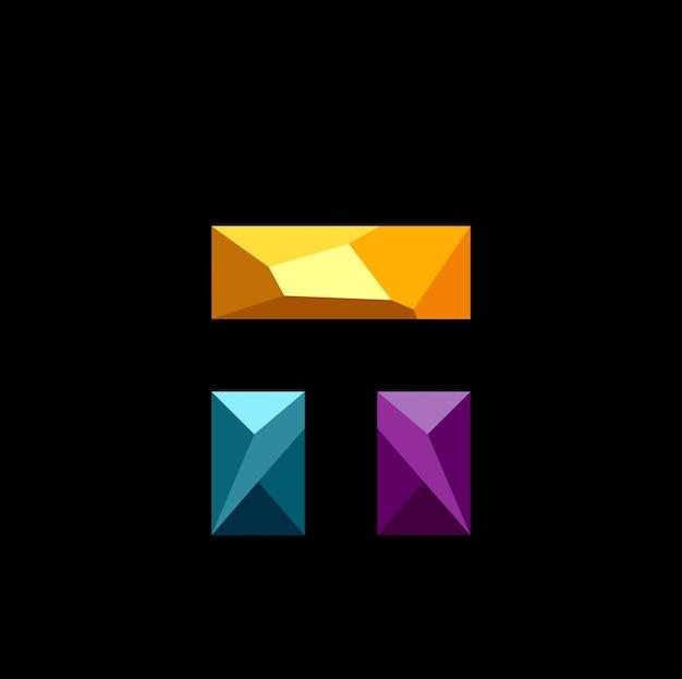 Bloco 3d baixo poli logo vector