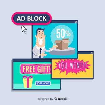 Bloco de anúncios pop up banner conceito