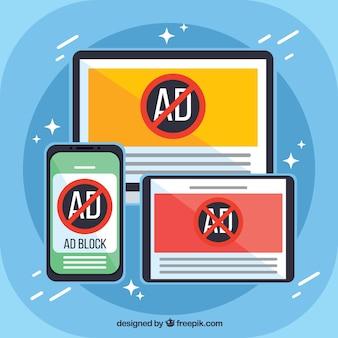 Bloco de anúncios pop up conceito com design plano