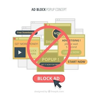 Bloco de anúncios popup conceito fundo em estilo simples
