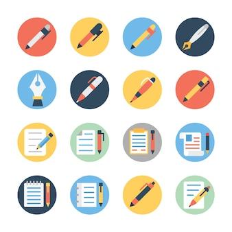 Bloco de ícones arredondado plano de bloco de notas