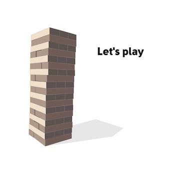 Bloco de jogo de torre em fundo branco. ilustração