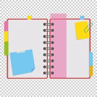 Bloco de notas aberto colorido em anéis com folhas em branco e marcadores entre as páginas.