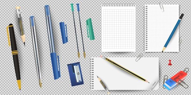 Bloco de notas com forro branco realista e folha de lápis, apontador e borracha, canetas e clipes de papel isolados