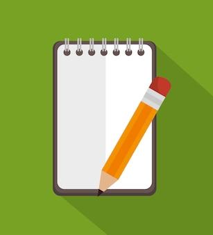 Bloco de notas com o ícone de educação de lápis