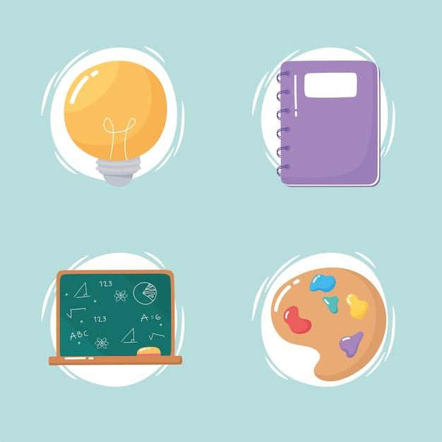 Bloco de notas de educação, quadro-negro, cores, escola, ícones, desenhos animados
