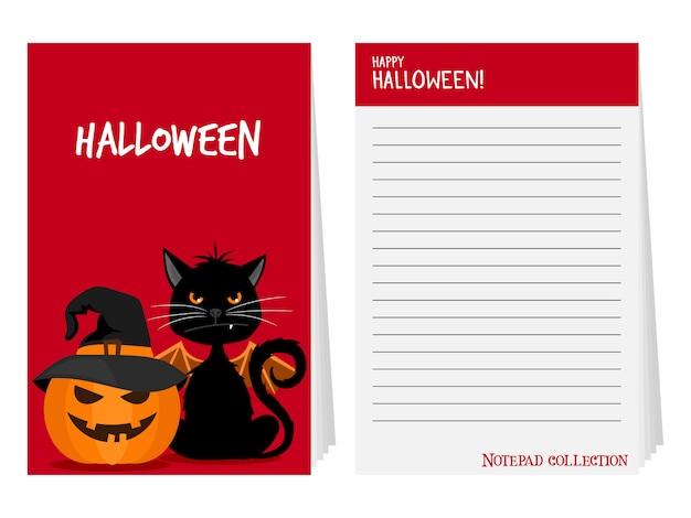 Bloco de notas de halloween com gato preto e abóbora