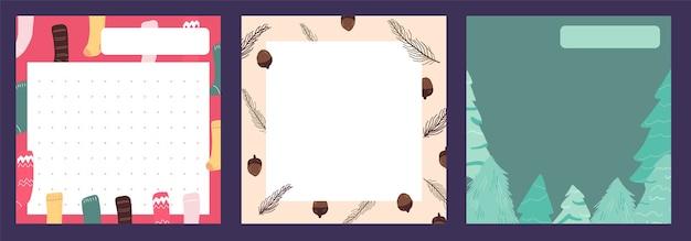 Bloco de notas de natal, nota, diário, padrão de cartões postais, design de adesivo bonito
