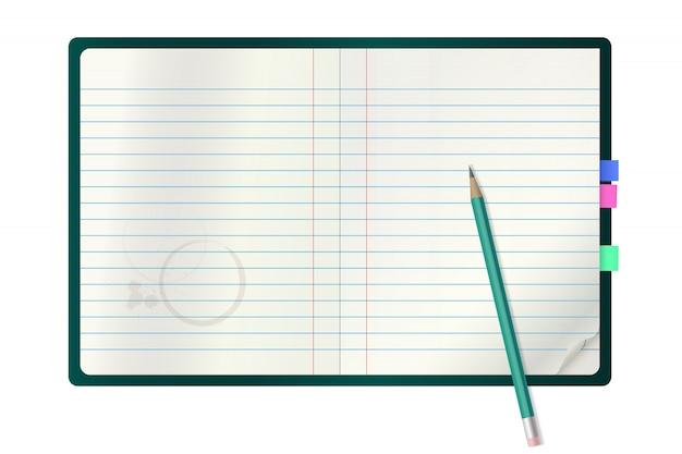 Bloco de notas de vetor realista e um lápis.