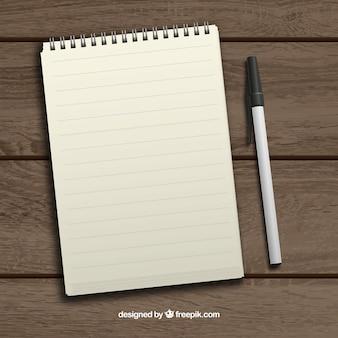 Bloco de notas e caneta realista