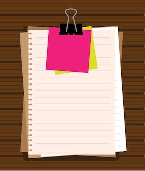 Bloco de notas e folhas de papel isoladas no vetor de fundo branco