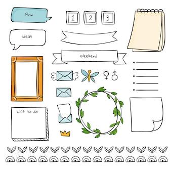 Bloco de notas e formas fofas de modelo de diário com marcadores