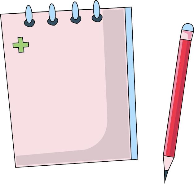 Bloco de notas e lápis em um fundo branco um ícone de caderno com um lápis para um médico