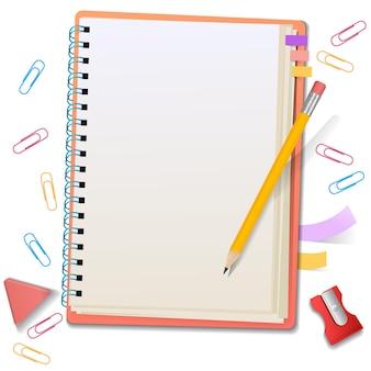 Bloco de notas em branco com papel de carta, clipes de papel, lápis, borracha, apontador