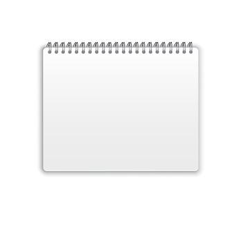Bloco de notas em espiral realista em branco