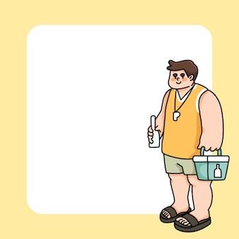 Bloco de notas homem verão férias na praia para fazer a lista notas diárias