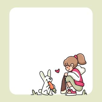 Bloco de notas linda garota e coelho com desenhos de cenoura para fazer a lista de anotações diárias