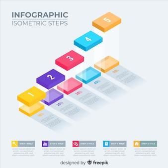 Bloco de passos infográfico isométrico