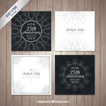 Bloco de quatro cartões de casamento de prata