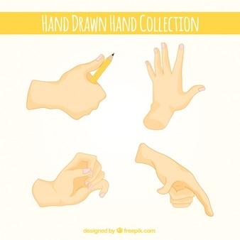 Bloco de quatro desenhado mão mãos