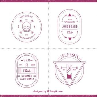 Bloco de quatro emblemas de skate moderno