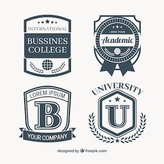Bloco de quatro emblemas de treinamento no estilo do vintage